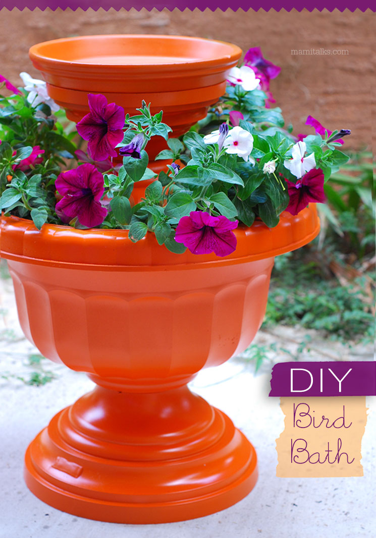 DIY Bird Bath, make a colorful and bold addition for your garden. -MamiTalks.com