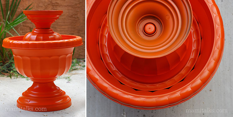 DIY Bird Bath painted urn. -MamiTalks.com