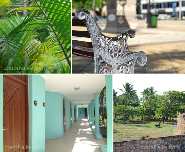 Collage of hotel hallway, Puerto plata downtown and more