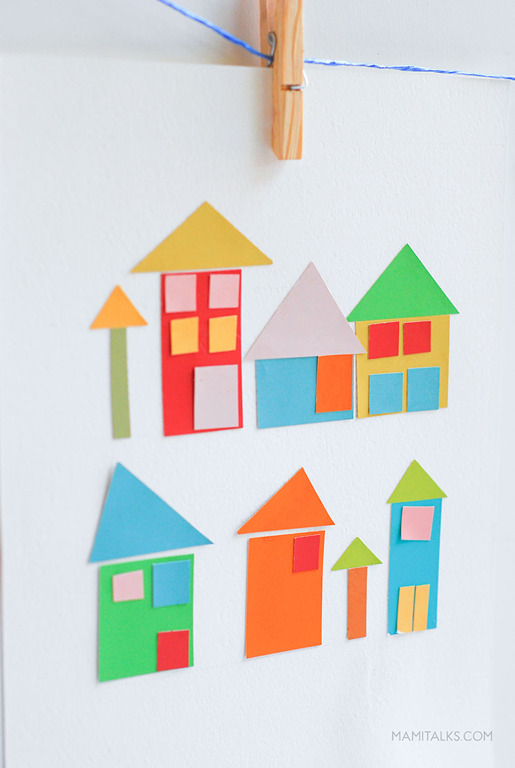 Paint chip craft, little houses. -MamiTalks.com
