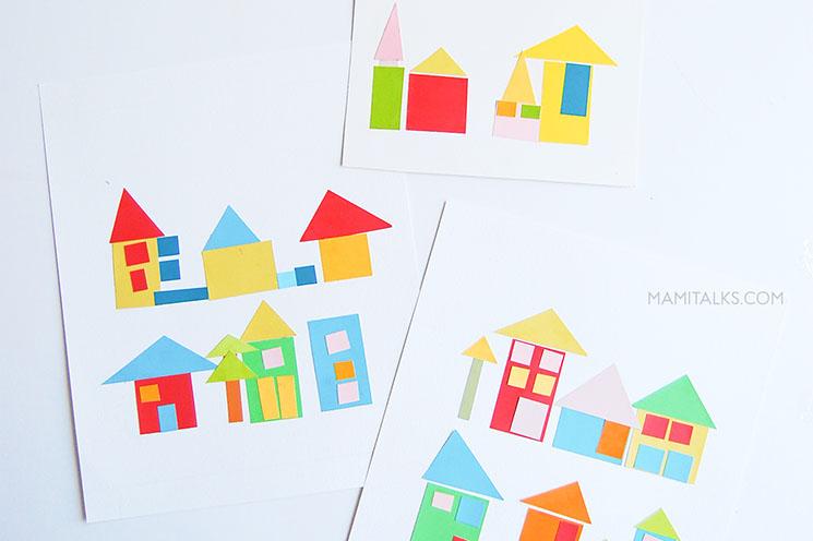 Paint-chip craft little houses artwork -MamiTalks.com
