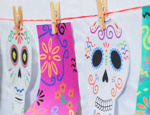 DIY Día de los Muertos Garland, easy and simple to make in 30 minutes! -MamiTalks.com