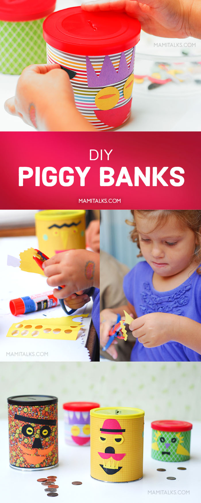 DIY Piggy Banks, several pictures with steps. MamiTalks.com