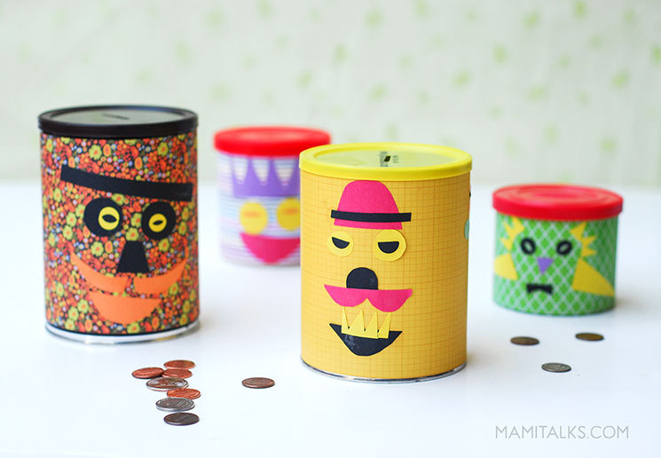 Colorful DIY Piggy banks, made out of cans. -mamitalks.com