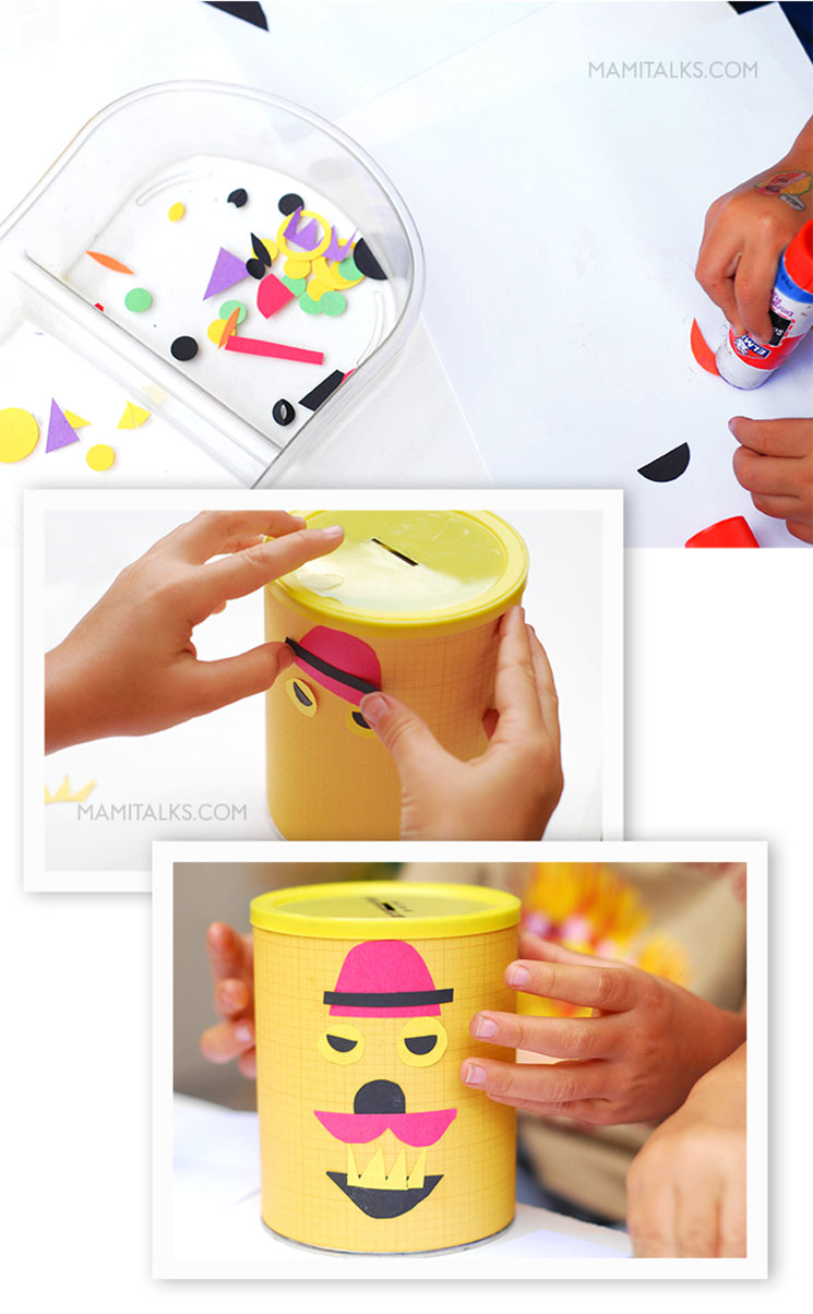 Making creative DIY piggy banks, several images with steps. -MamItalks.com