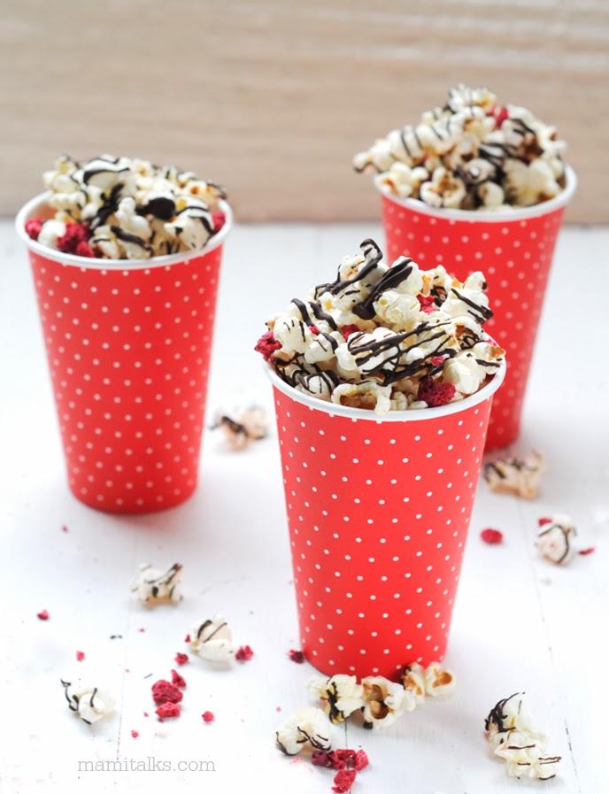 Dark Chocolate Raspberry Popcorn  - Mamitalks.com