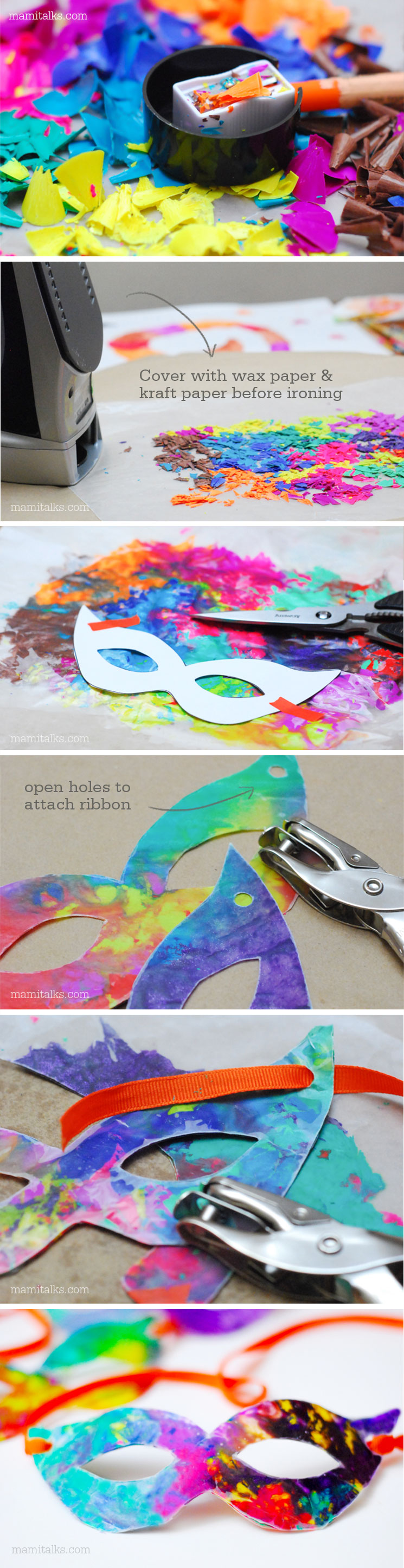 DIY Carnaval Crafts Ideas: Crayon Masks -MamiTalks.com