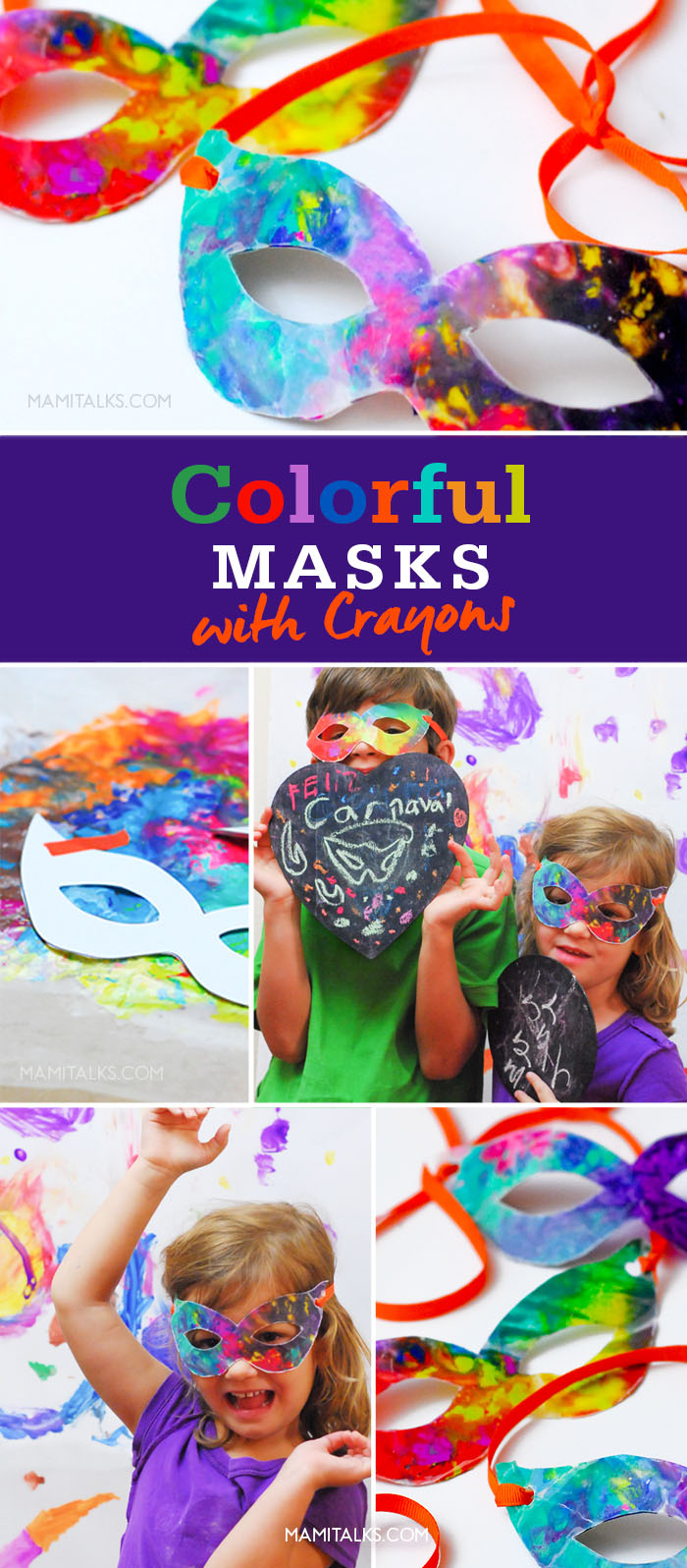 Photos of carnival masks made with crayons. -MamiTalks.com
