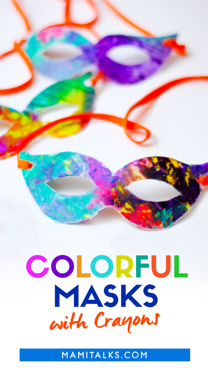 Carnival masks made with crayons. -MamiTalks.com