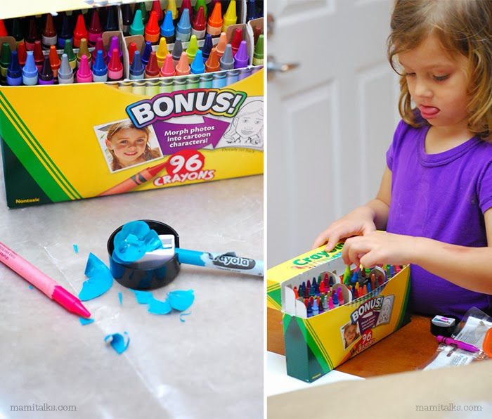 Crayola crayons box, little girl using them. -MamiTalks.com