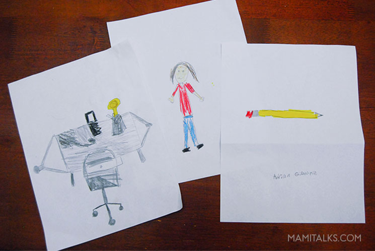 Drawing to make personalized notes for teachers. MamiTalks.com