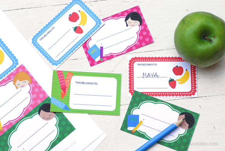 Back-to-school printable name tags -Mamitalks.com