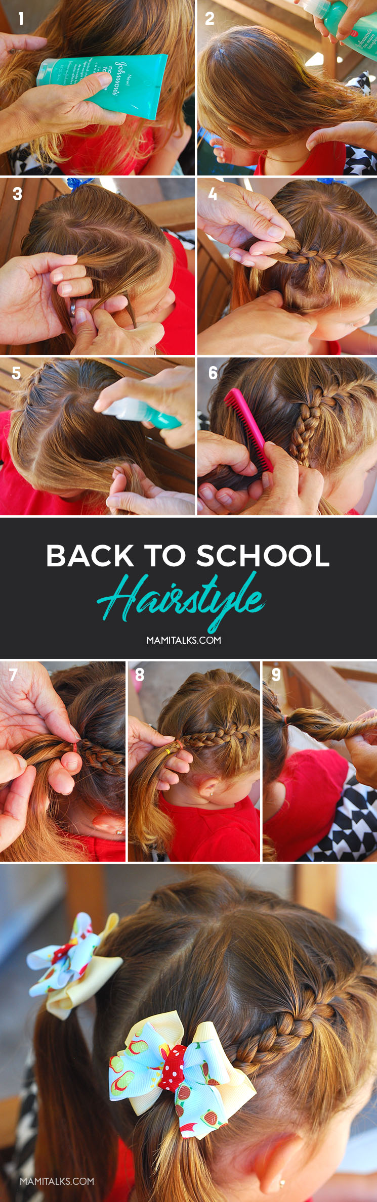 Steps to make a school hairstyle for girls. MamiTalks.com