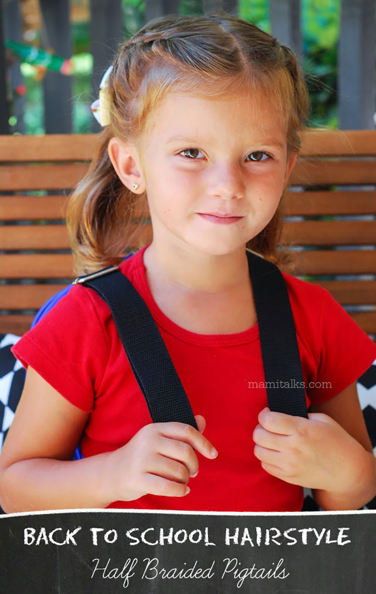 Back to School hairstyle, girl with a backpack. MamiTalks.com
