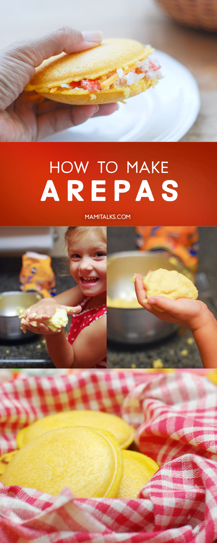 Arepa filled with tuna salad and cheese, little girl making arepas. -MamiTalks.com