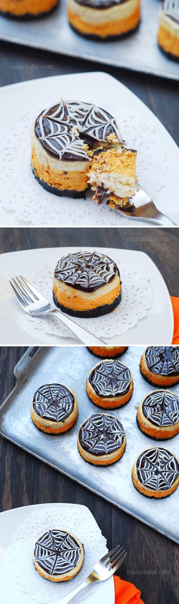 Halloween Mini Cheesecakes with spider webs -MamiTalks.com