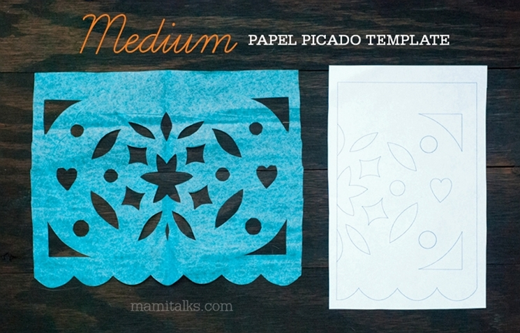 MEIDUM difficulty papel picado template, download and print your own. -MamiTalks.com
