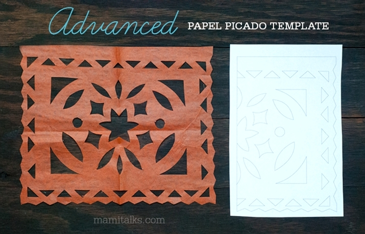 ADVANCED difficulty papel picado template, download and print your own. -MamiTalks.com