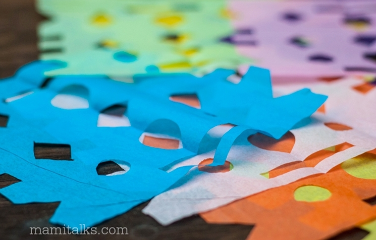 Papel picado templates. Make them at home, 3 different types: easy, medium and advanced. -Mamitalks.com