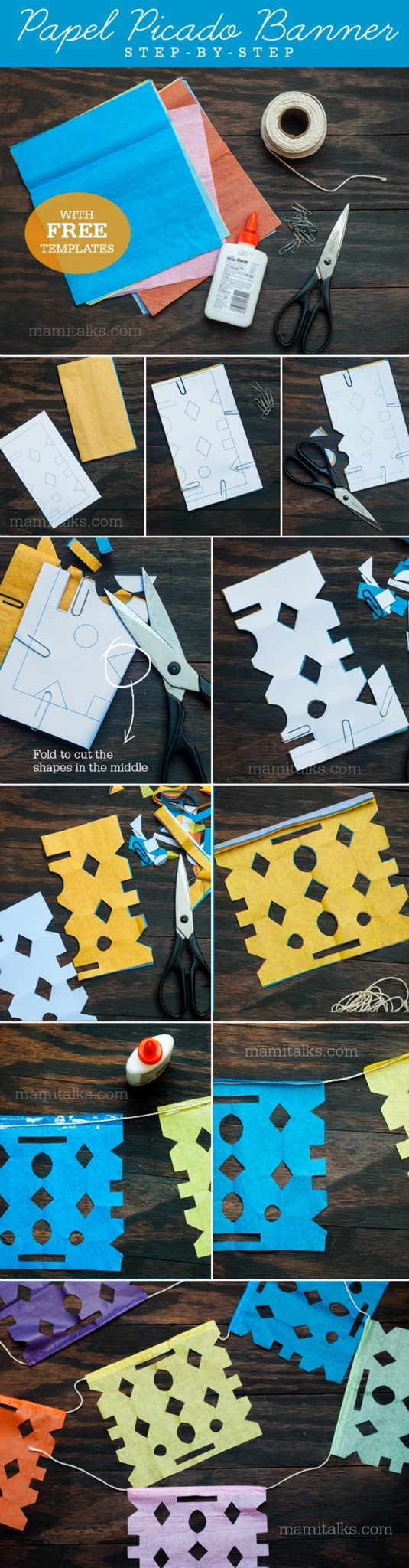 Papel picado templates, learn step-by-step instructions how to make your own banner for day of the dead. -Mamitalks.com