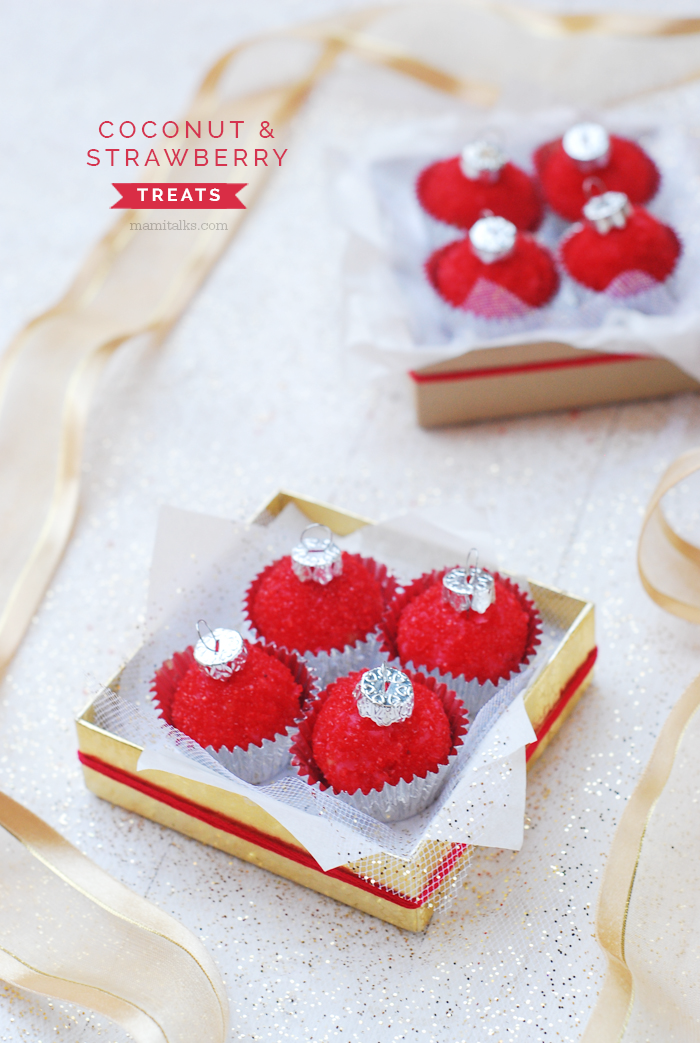 Coconut and strawberry treats in the shape of Christmas tree ornaments wrapped as a gift. -MamiTalks.com