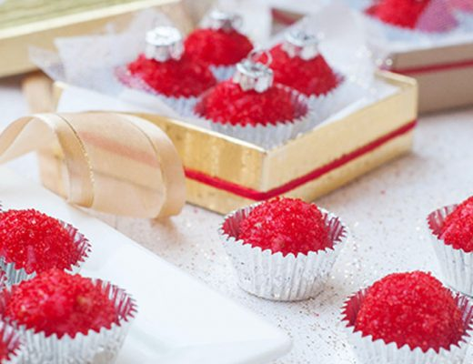 Coconut and strawberry treats that look like Christmas ornaments. MamiTalks.com