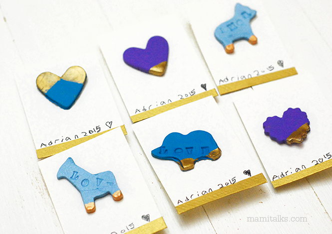 DIY clay magnet valentines in the shape of hearts and animals -MamiTalks.com
