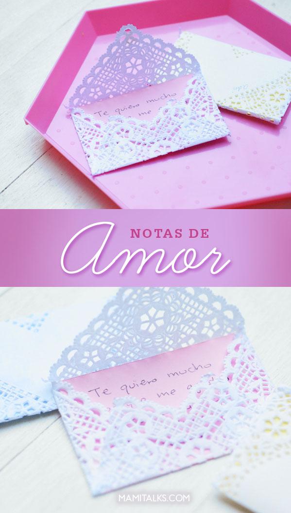 Notas de amor hechas con doily. -MamiTalks.com