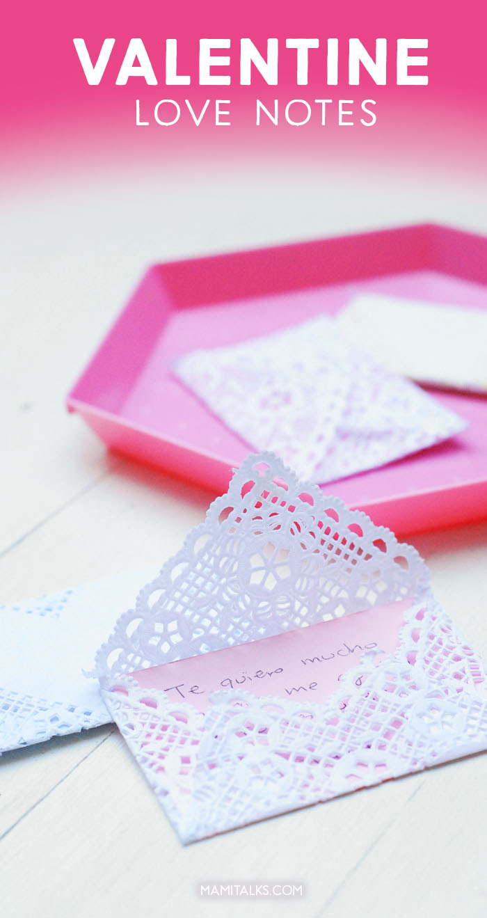 Valentine love notes made with paper doily. -MamiTalks.com