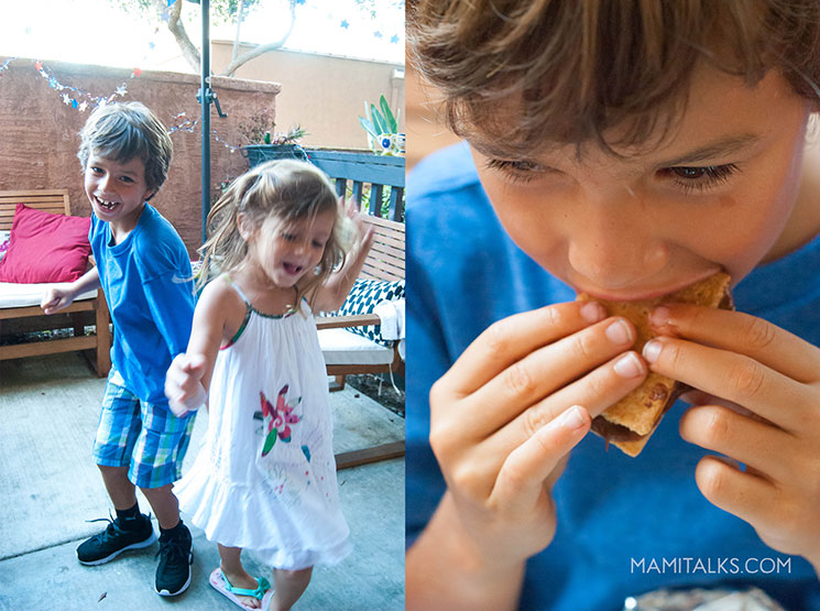 Kids dancing and boy eating Smores for 4th of july. MamiTalks.com