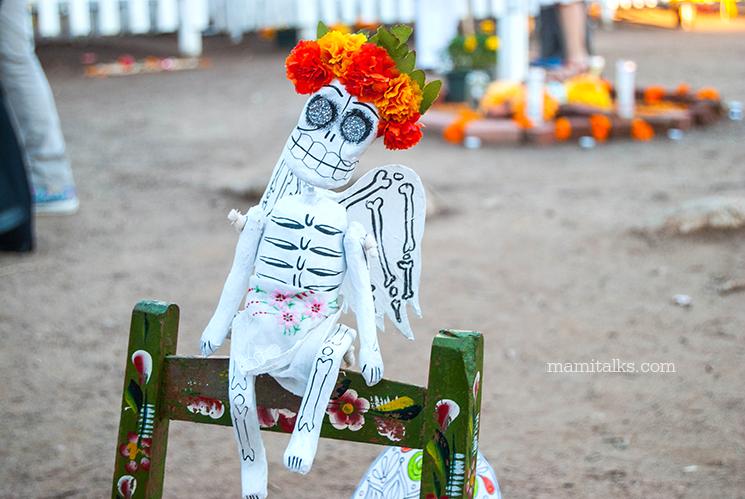 Day of the dead catrina on chair -MamiTalks.com