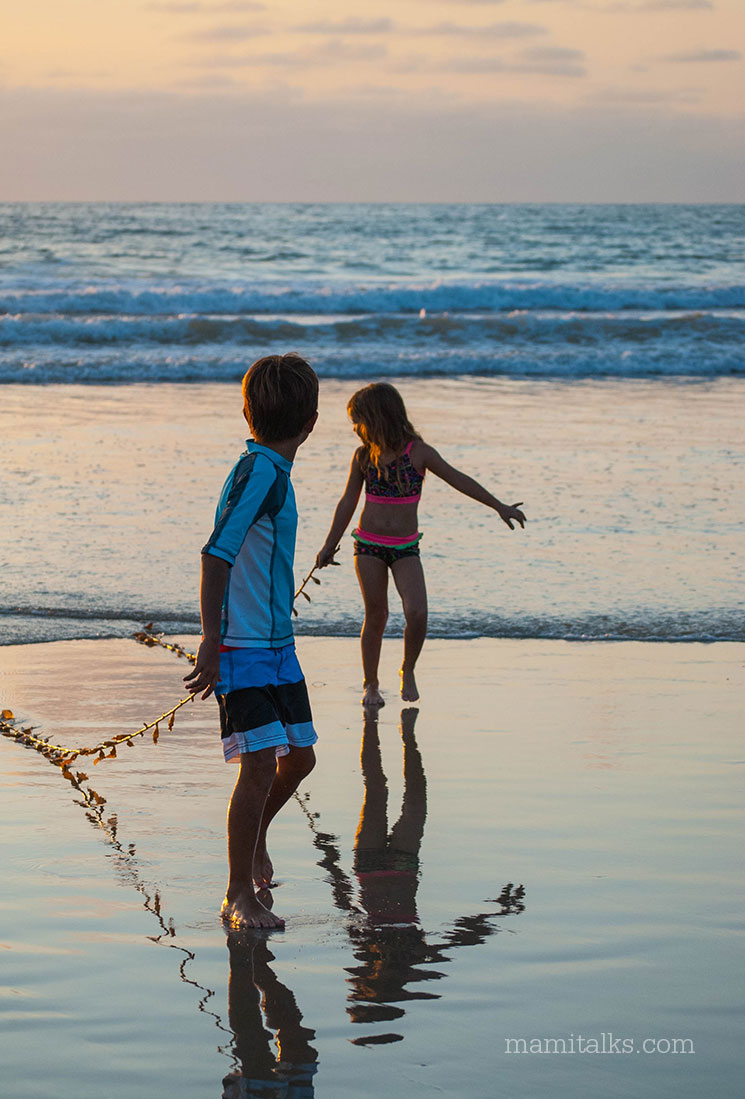 Kids at La Jolla Shores beach -MamItalks.com