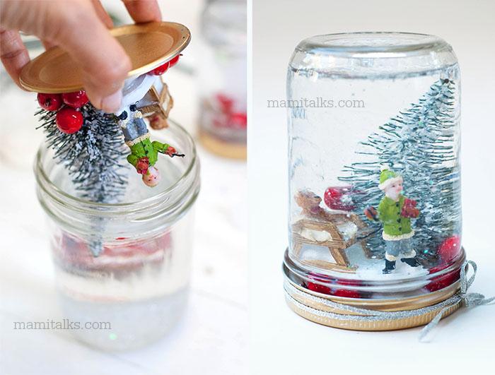 Haciendo un globo de nieve en casa con un frasco. -MamiTalks.com