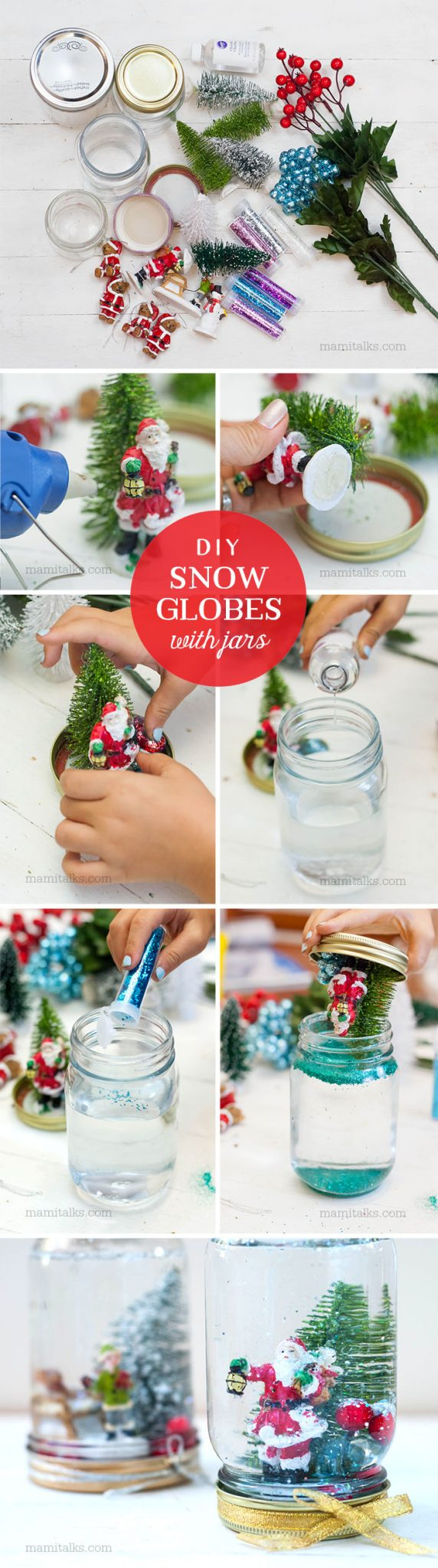 DIY Snow globes with jars steps. -MamiTalks.com