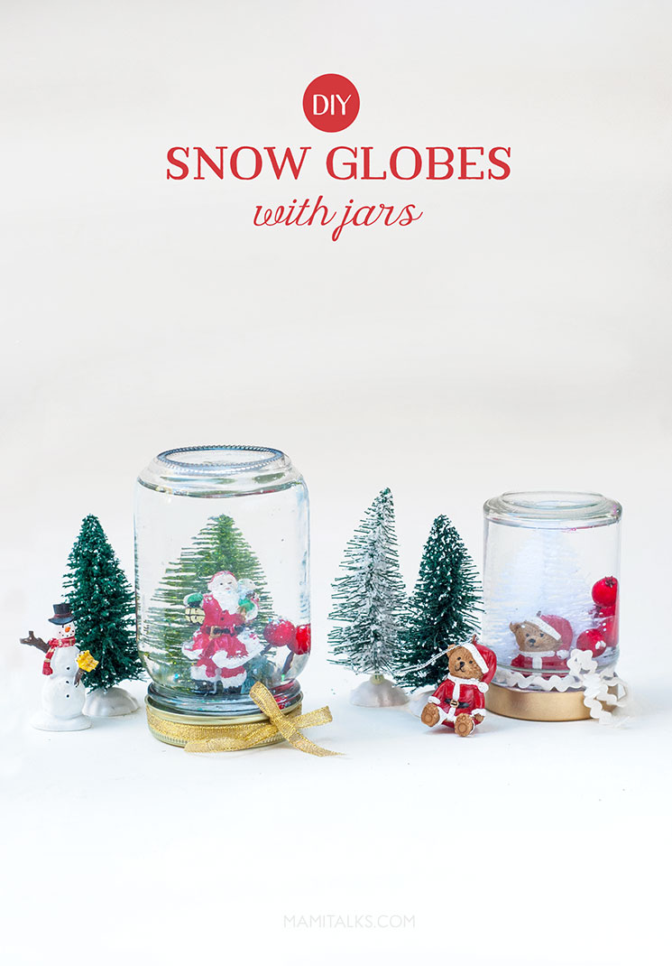 Snowglobes with jars DIY -MamiTalks.com