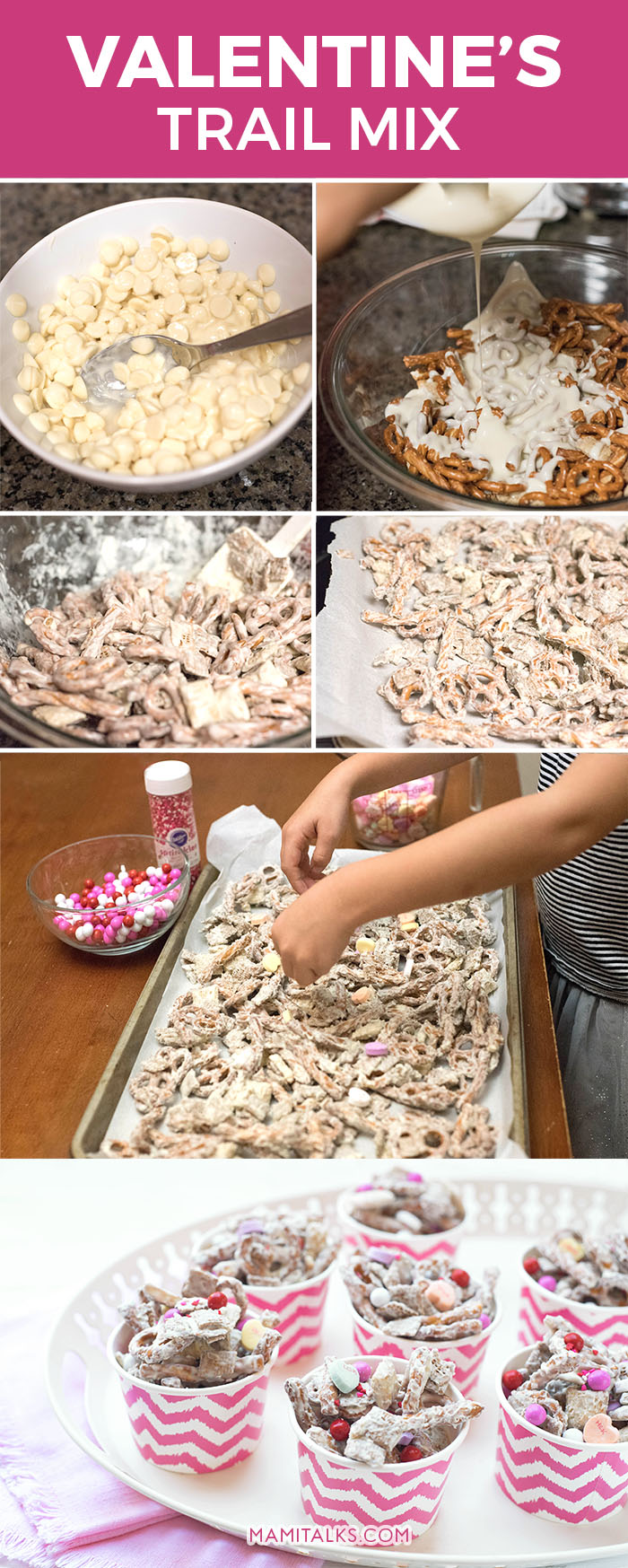 Valentine trail mix recipe, step-by-step pictures. -Mamitalks.om