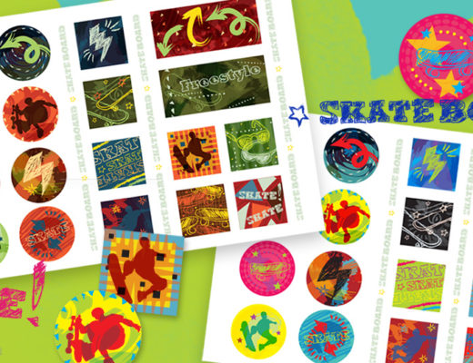 Printable skateboard stickers, free and easy to use -MamiTalks.com