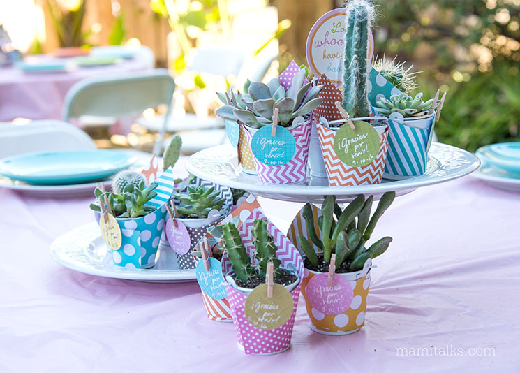Baby shower centerpiece idea made with succulents -MamiTalks.com