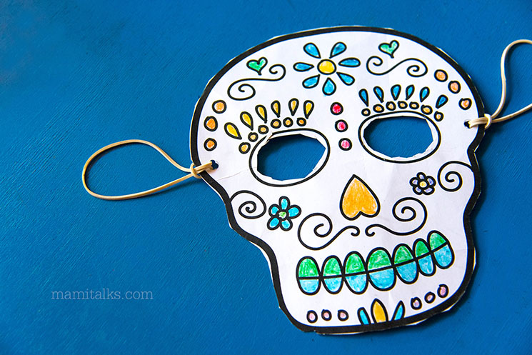 Print your own sugar skull masks to color -MamiTalks.com