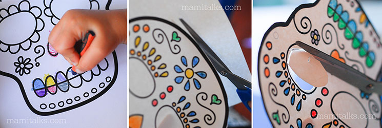 Sugar skull masks printables for kids -MamiTalks.com