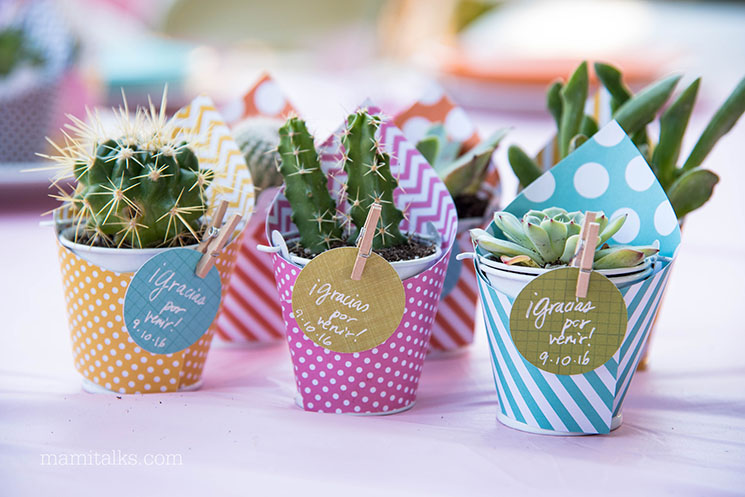 Recuerditos de mini suculentas y cactus para baby shower -MamiTalks.com