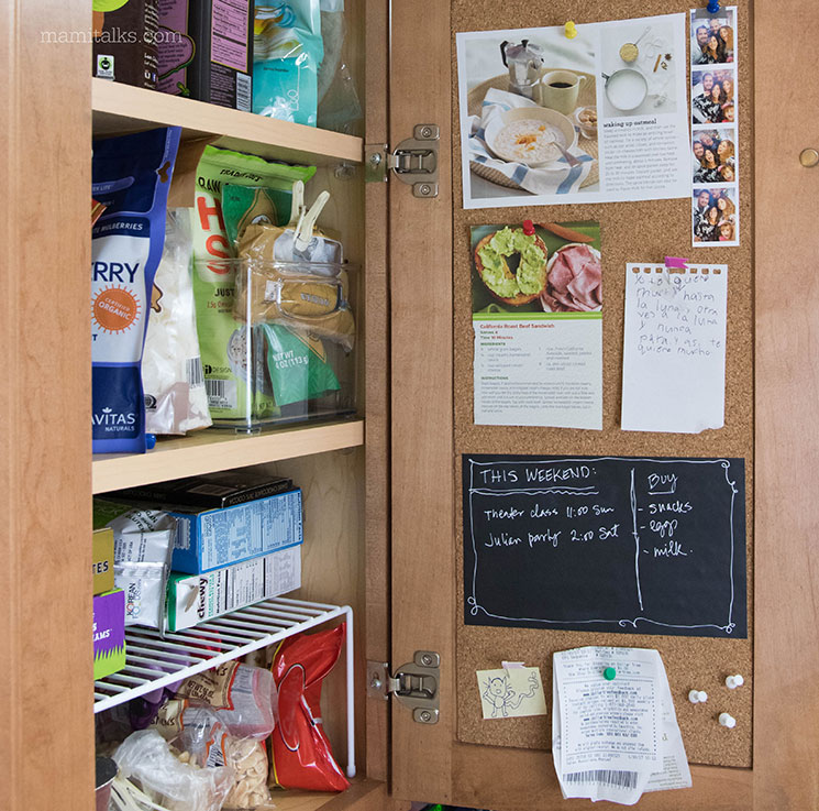 DIY Kitchen cabinet corkboard -MamiTalks.com