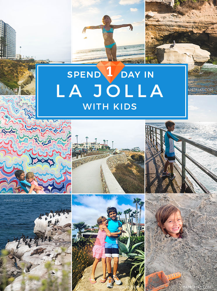 Things to do with kids in La Jolla, SAn Diego. What to do and where to take them! Collage of adventures, a guide of a day with kids in La Jolla. -MamiTalks.com