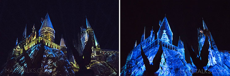 Christmas Light Show at Wizarding World of Harry Potter, Universal Studios Hollywood. -MamiTalks.com