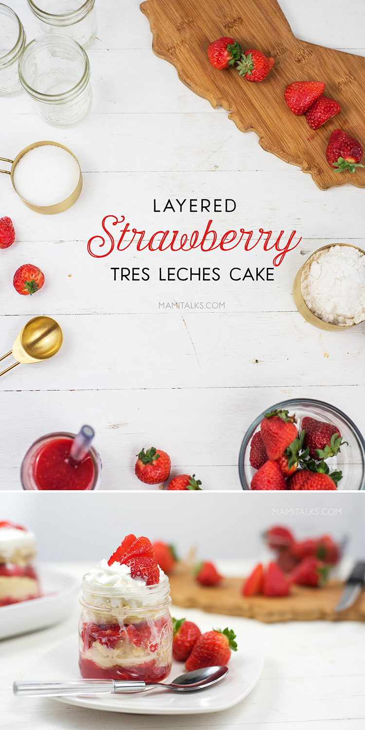 Layered Strawberry Tres Leches Cake easy recipe -MamiTalks.com