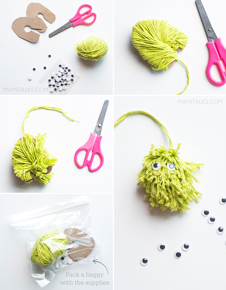 DIY KIDS' TRAVEL ACTIVITY BAG. Blobby pom pons craft -MamiTalks.com