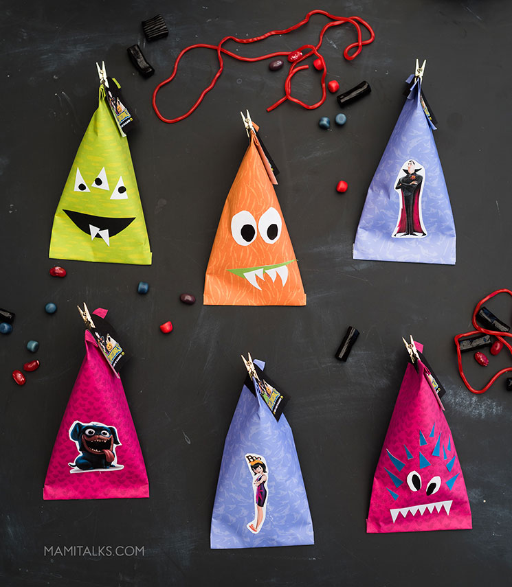 Halloween monster treat bags with Hotel Transylvania 3 characters and your own creations.