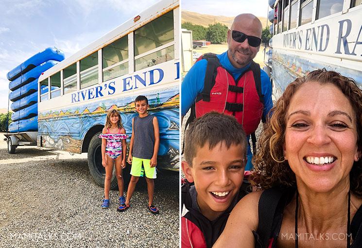 Familia en frente del autobus para ir rafting. family river rafting in Bakersfield, CA -mamitalks.com