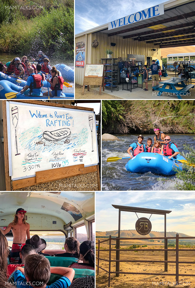 Collage of river rafting in Bakersfield: River's End Rafting. family river rafting in Bakersfield, CA -mamitalks.com
