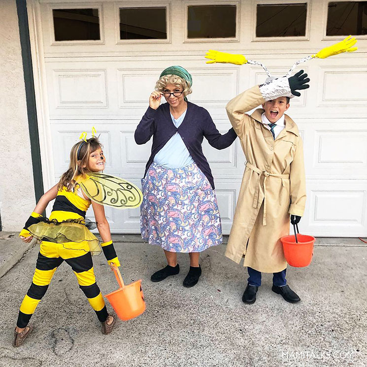 Inspector Gadget costume, a little bee costume and an old lady for halloween. -MamiTalks.com
